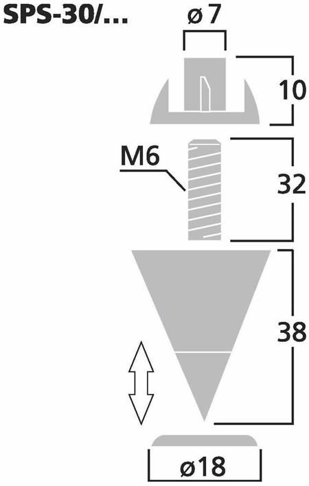 Monacor speaker spikes SPS30SC dimension diagram (approx.)