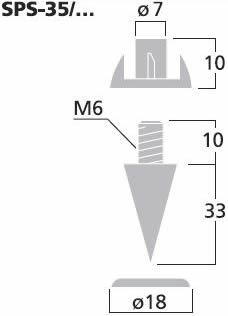 Monacor speaker spikes SPS35SC dimension diagram (approx.)