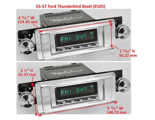 RetroSound Faceplate Bezel Chrome #105. Dimensions are approximate; knobs, accessories and radio not included.