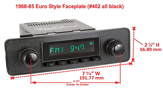 RetroSound Faceplate Bezel Black #402. Dimensions are approximate; knobs, accessories and radio not included.