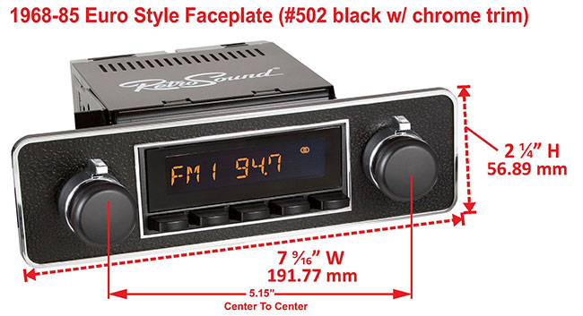 RetroSound Faceplate Bezel Black and Chrome #502. Dimensions are approximate; knobs, accessories and radio not included.