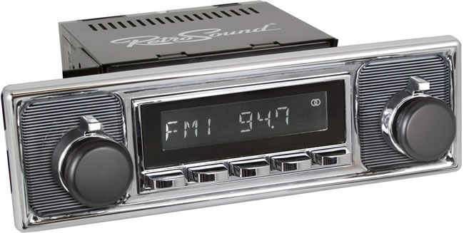 Retro Sound Laguna car radio with separately supplied black trim plate and knobs.