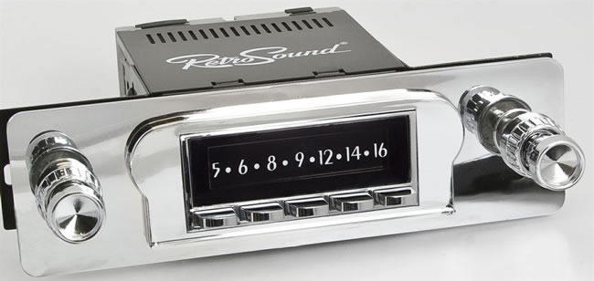 Retro Sound Laguna car radio, showing base unit with separately supplied black trim plate and knobs.