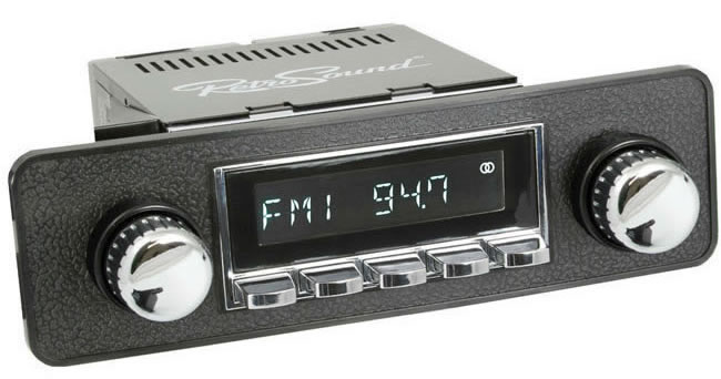 Retro Sound Laguna car radio, showing example knobs, trim plates etc. that are supplied separately.
