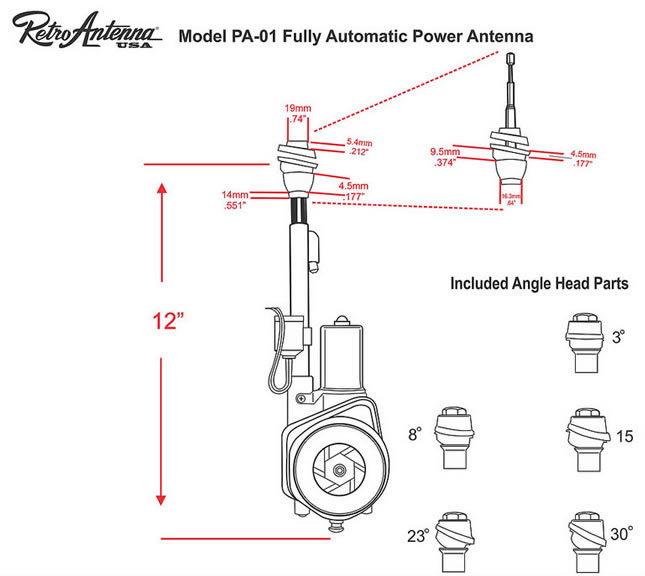 RetroSound PA01 electric aerial - dimensions and included mounting heads.
