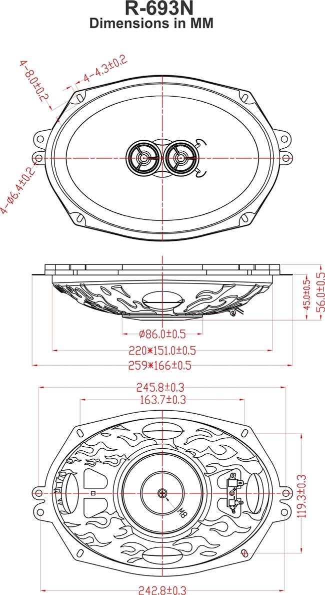 Retrosound R N Speaker Dimension on 4 Full Range Car Speaker