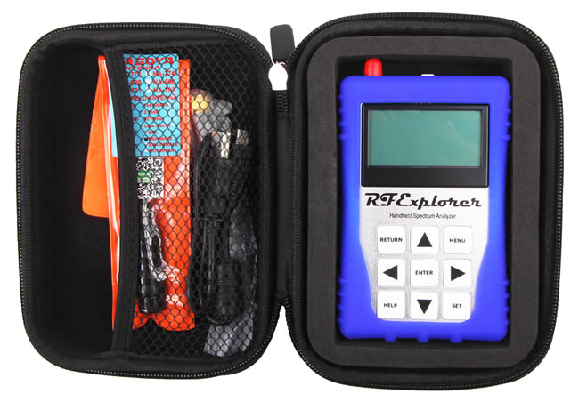 RF Explorer WSUB1G+ and supplied accessories in the case.