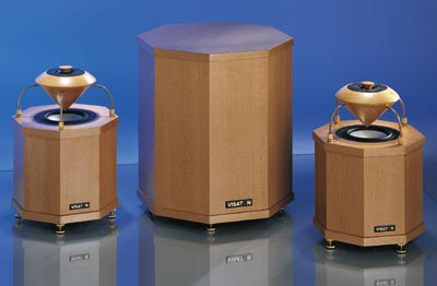 Visaton Fontanella Sub - centre - (Fontanella Sat speakers - left and right - not included) - shown assembled with suggested cabinets, not supplied.
