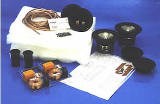 An example of a Visaton hifi speaker kit contents.